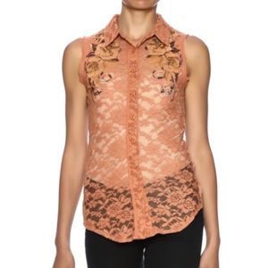 Miss Me Lace Embroidered Button Up Sleeveless Top